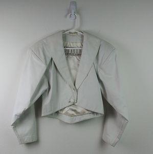 Vintage BB Dakota Cropped White Leather Jacket